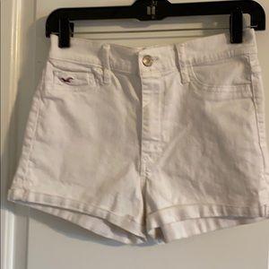 White jean shorts.